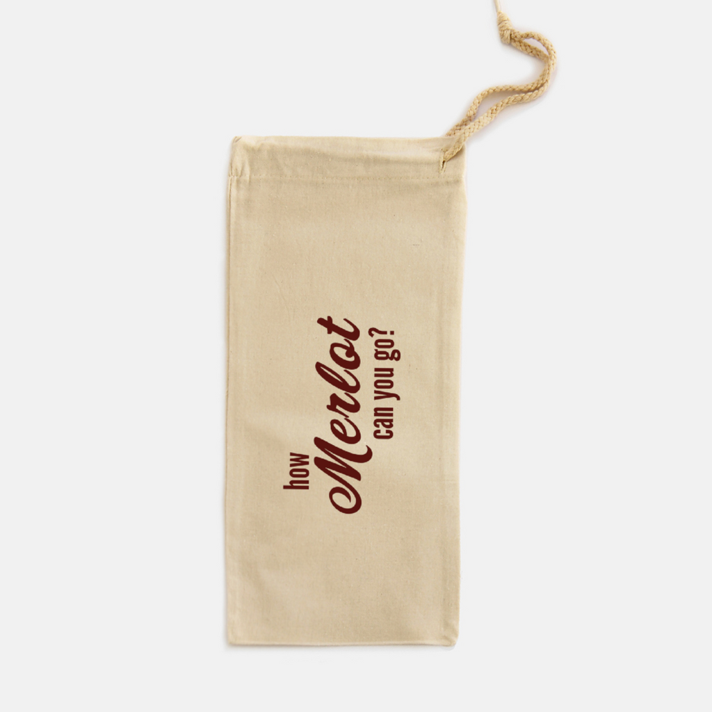 HOW MERLOT CAN YOU GO- CANVAS WINE TOTE