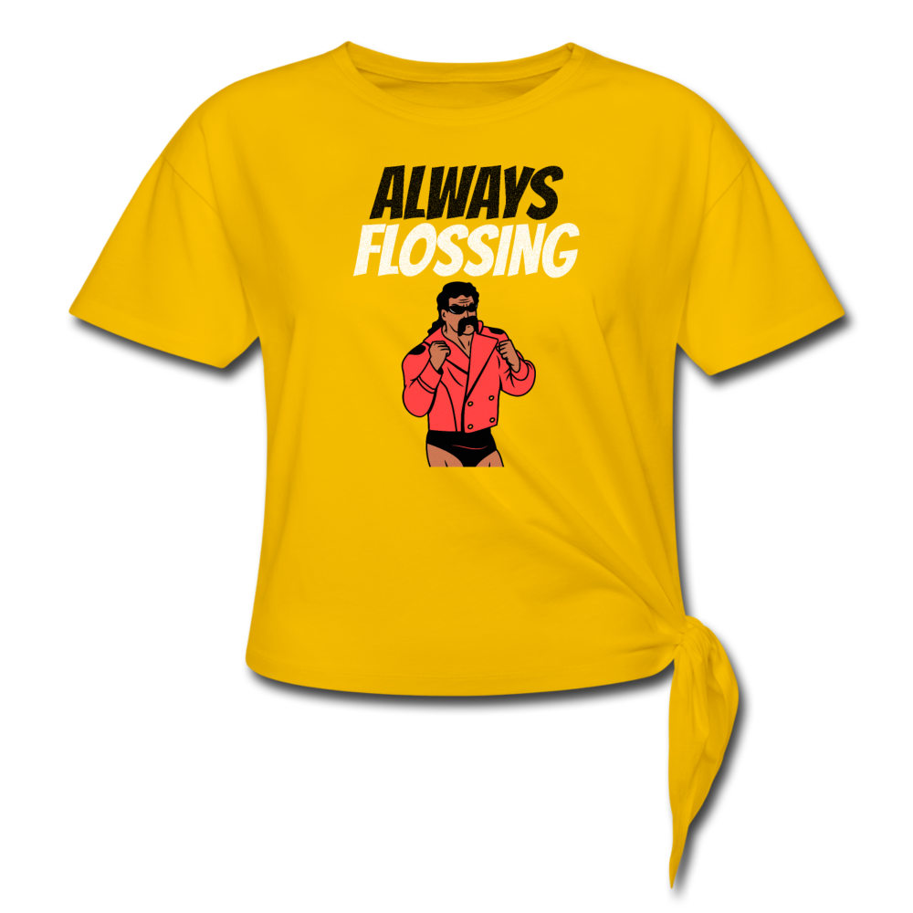 Always Flossing Wrestling Tee - sun yellow