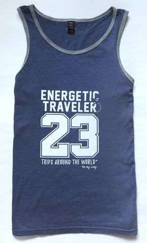 Camiseta de tirantes de hombre - Azul y gris - 23 trips around the world