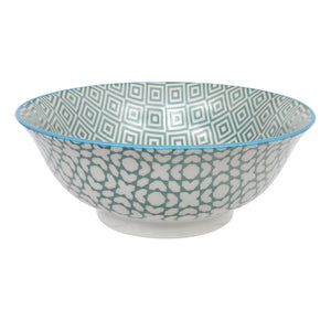 Geo Eclectic Large Green Bowl 20.5x8cm