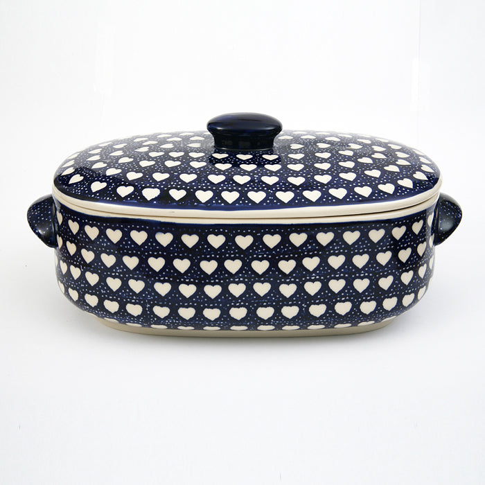 Bread Jar/Casserole Dish Medium Hearts