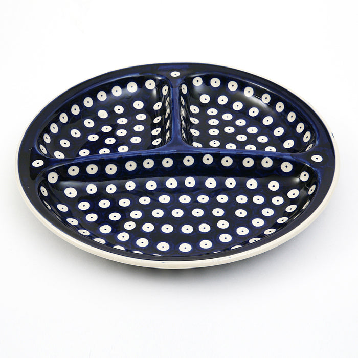 Serving Platter Divided into 3 Blue Spot