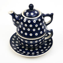Teapot, Cup & Saucer Set in Blue Spot