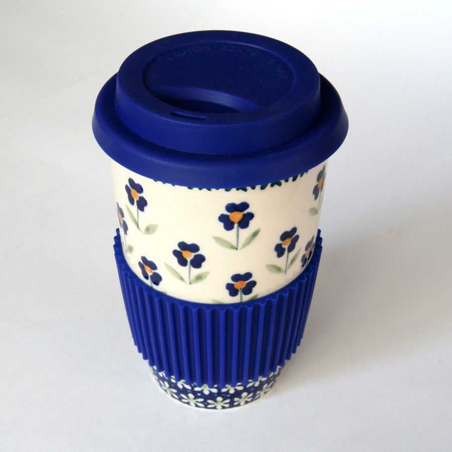 Coffee cup with silicon lid & grip Field of Flowers