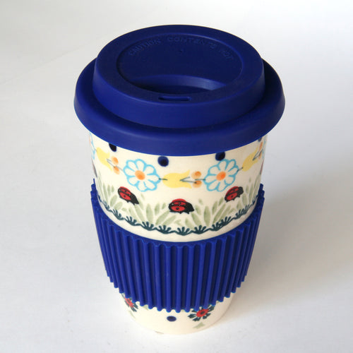 Coffee cup with silicon lid & grip Ladybirds