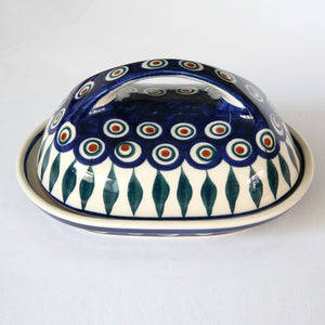 Butterdish large handle Eye of Peacock