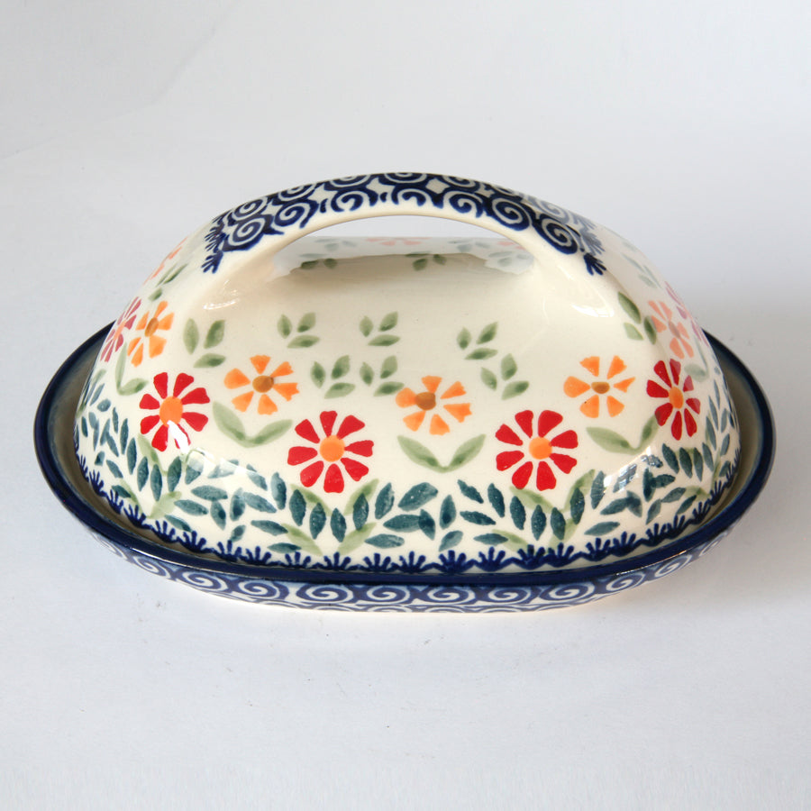 Butterdish large handle Orange & Red flowers