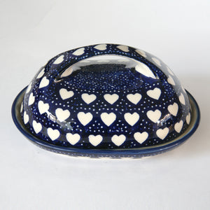 Butterdish large handle Hearts