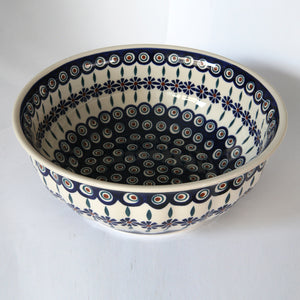 Rippled bowl 30 cm Bunzlau Flower