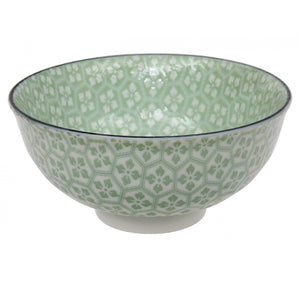 Tea Pattern Rice Bowl in Green