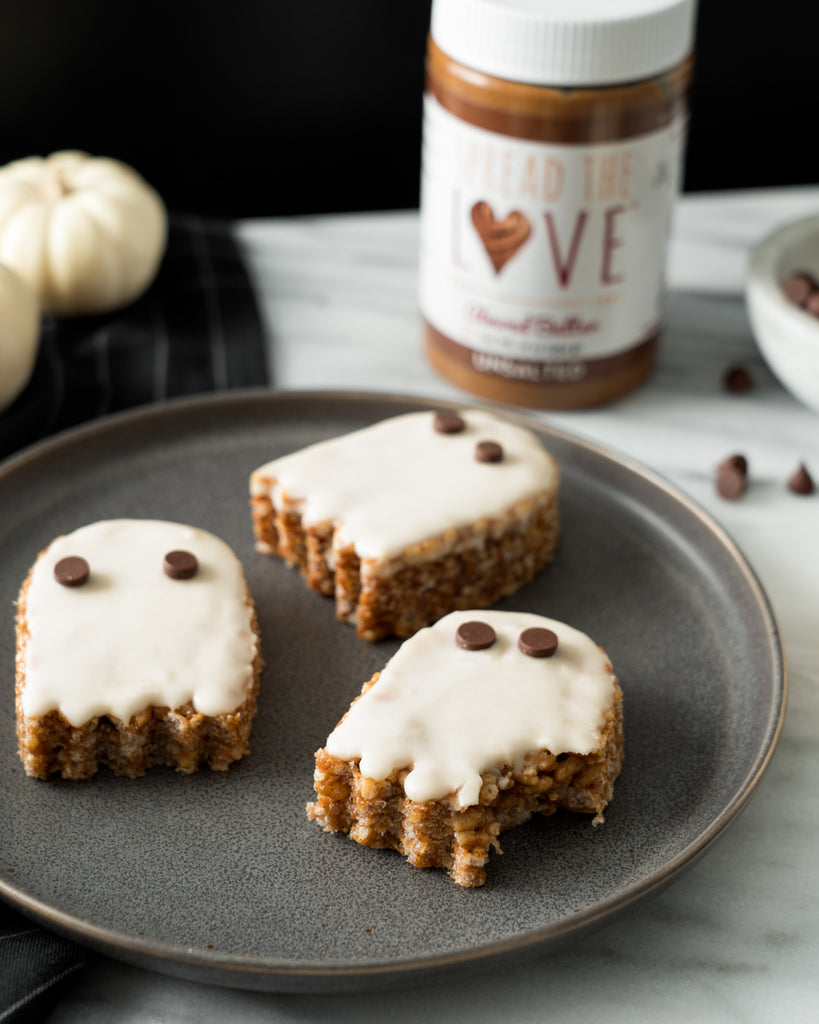 Almond Butter Crispy Treat Ghosts