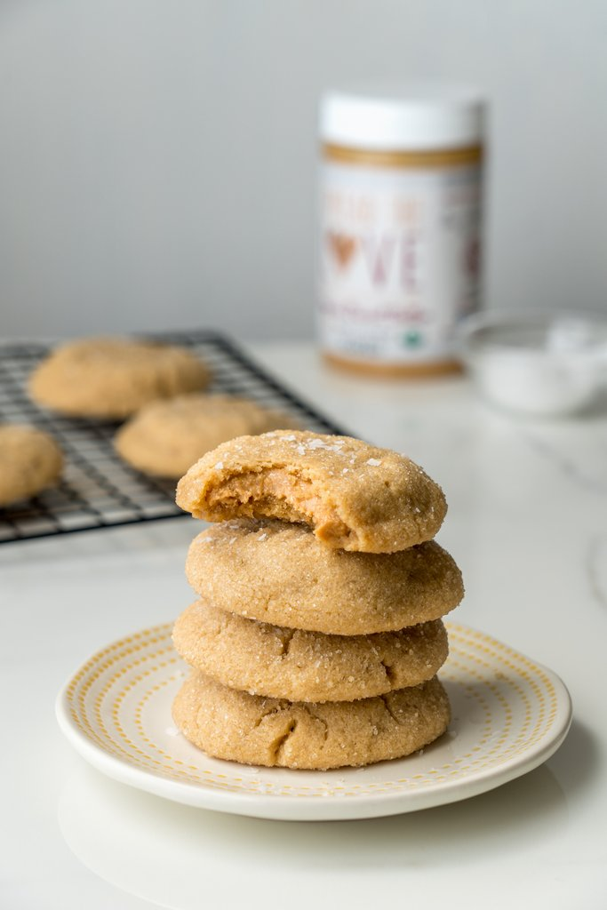 Salted Honey Stuffed Peanut Butter Cookies
