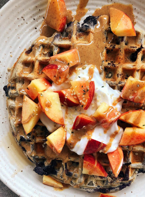 Blueberry Cinnamon Oat Waffles
