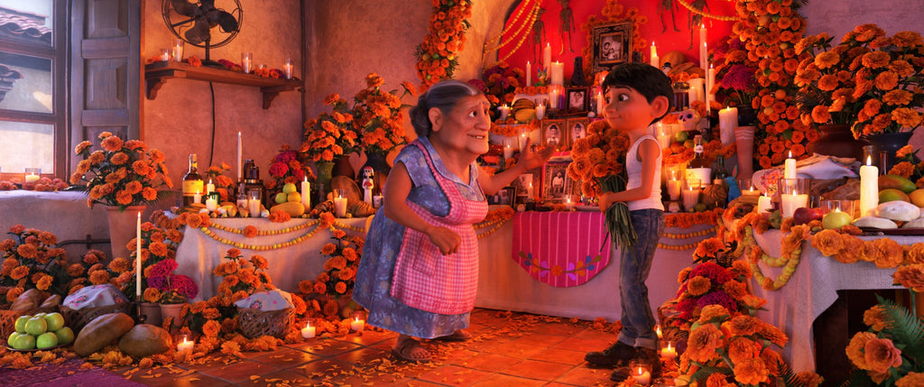 Image of Miguel and his grandmother from Pixar's Coco.