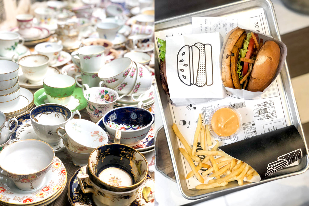 Teacups at the markets in London; vegan burger from By Chloe in London