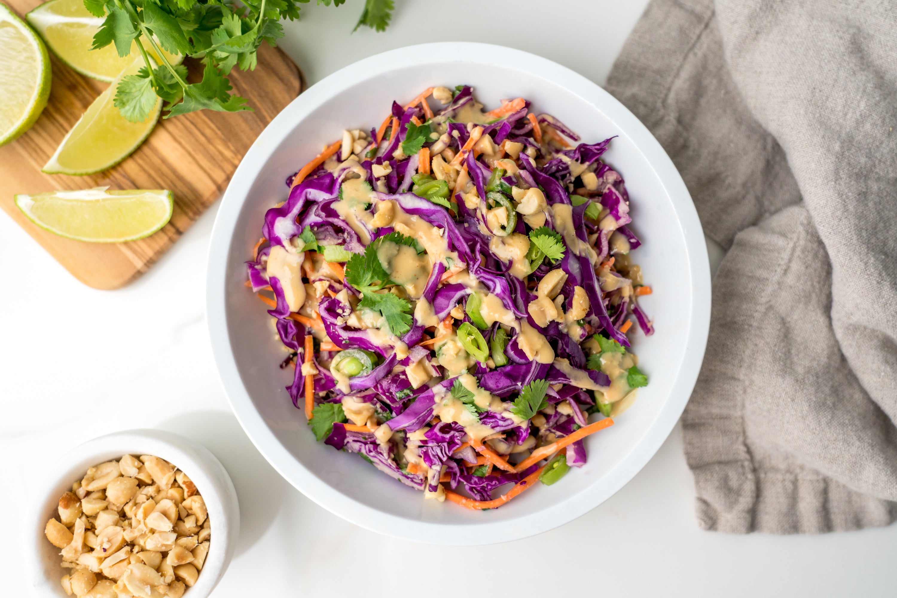 Purple Cabbage Salad With Thai Dressing