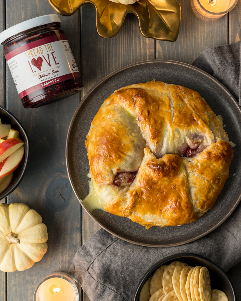 Baked Brie En Croute with Spread The Love Raspberry Artisan Jam