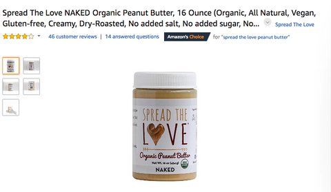 Amazon's Choice: Spread The Love® NAKED Organic Peanut Butter