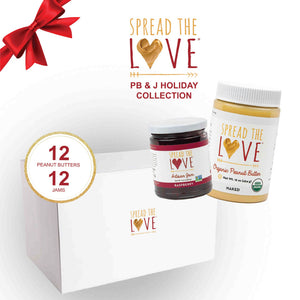 PB & J Holiday Collection (12 Naked Organic Peanut Butter + 12 Raspberry Artisan Jam)