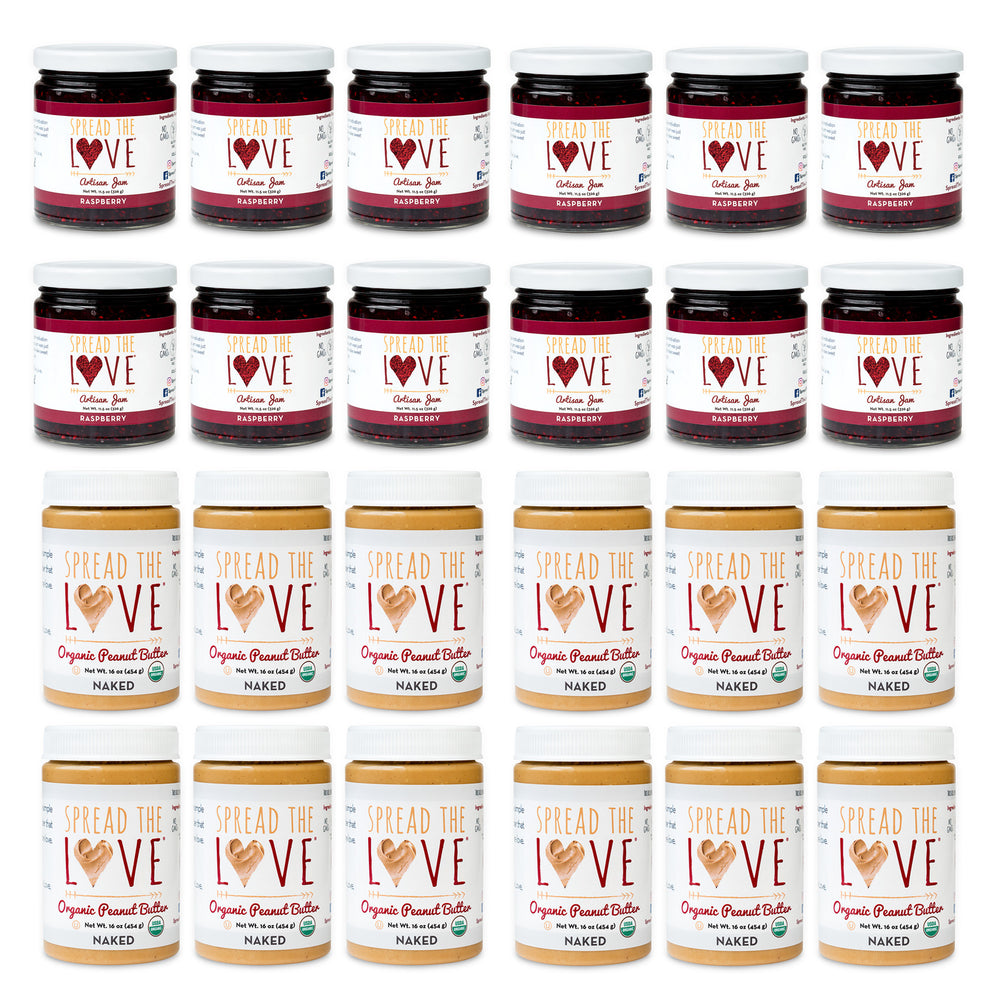 Load image into Gallery viewer, PB & J Holiday Collection (12 Naked Organic Peanut Butter + 12 Raspberry Artisan Jam)