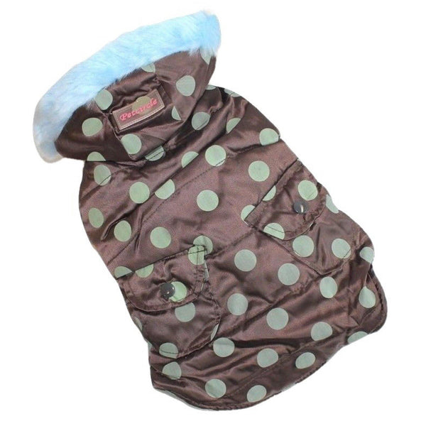 Dog Puppy Clothes Coat Jacket Hoodie Jacket Warm Brown For Small Pet Polka Dots - FunnyDogClothes