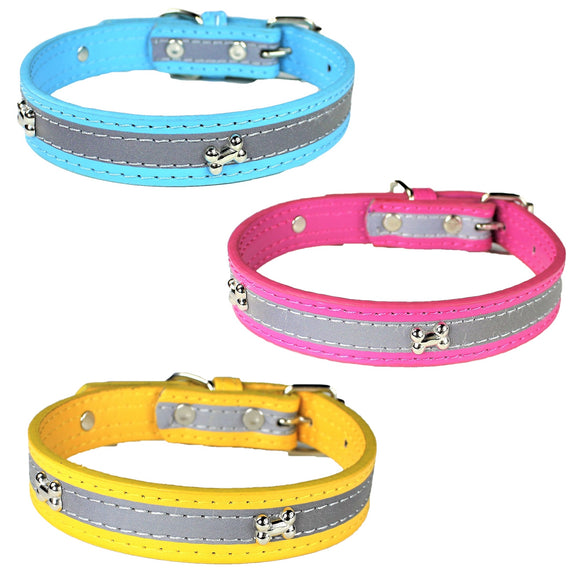 Dog Pet Puppy Collar Reflective Metal Buckle PU Leather - FunnyDogClothes