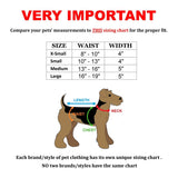 dog belly band with suspenders size chart