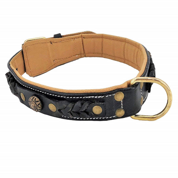 Genuine Leather Dog Collar Handmade Metal Buckle for Medium Large Pet - FunnyDogClothes
