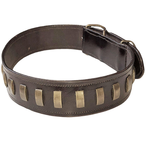 Genuine Real Leather Heavy Duty Dog Collar For Medium Large Pet Rivet Bronze - FunnyDogClothes