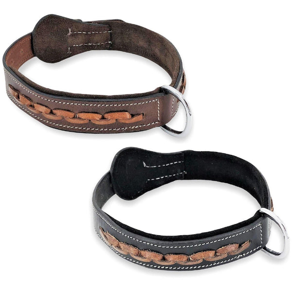 "Genuine Real Leather Dog Collar 1.3"" Width for Medium and Large Pets - FunnyDogClothes"