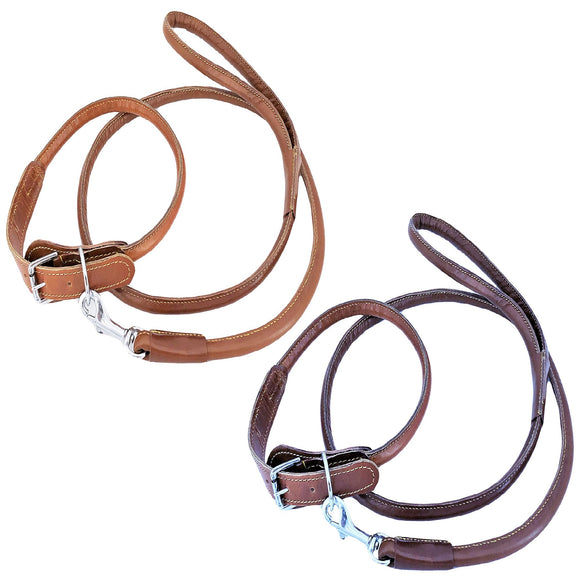 Genuine Real Leather Dog Collar with Leash 4 Ft Round Rolled Medium Large Pets - FunnyDogClothes