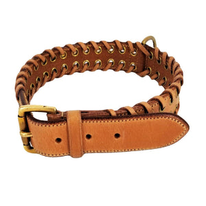 Genuine Real Strong Leather Heavy Duty Durable Collar Big Large Dog - FunnyDogClothes
