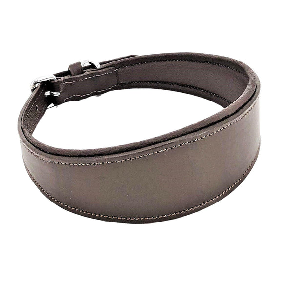 Genuine Leather Brown Padded Oval Dog Collar Handmade Metal Buckle for Medium Large Pet - FunnyDogClothes