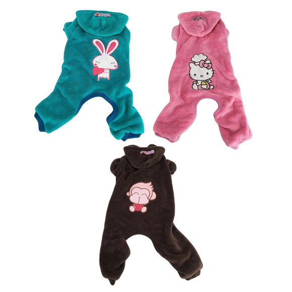 Dog Puppy Cat Clothes Apparel Pajamas Costume Hoodie Coat Pants Fleece Warm - FunnyDogClothes