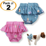 Pack - 2 Colors Dog Cat Diapers Female Skirt Ruffles For Small Dog 100% Cotton