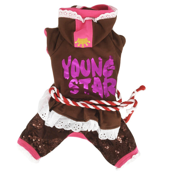 Dog Puppy Dress Pants Young Star Lace Hoodie - FunnyDogClothes