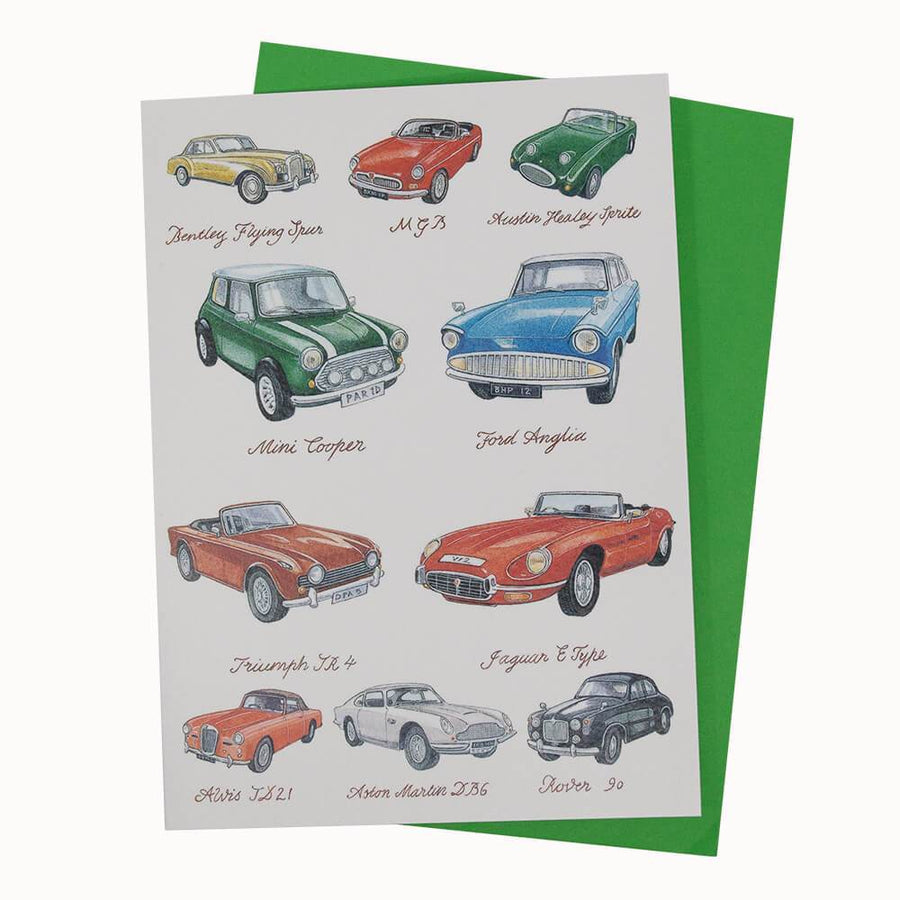 British Classic Cars Birthday Card