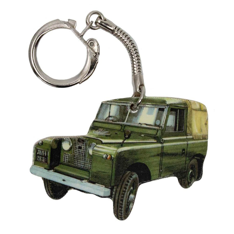 Land Rover Series 2 Keyring With Chrome Keychain - Wheelygifts