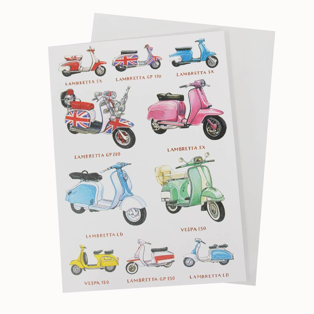 Vespa Lambretta Scooter Birthday Greetings Card Free Uk Delivery Wheelygifts