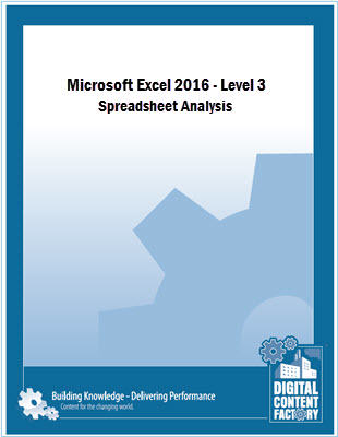 Excel 2016 - Level 3 - Spreadsheet Analysis Cover