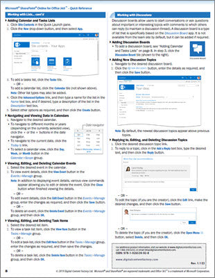 SharePoint Online for Office 365 - Quick Reference