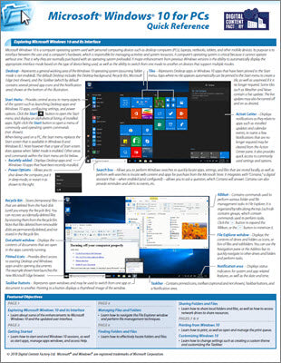 Windows 10 for PCs - Quick Reference