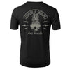 back of Black t-shirt with caffeine and gasoline logo from collaboration pineapple skull shirt with Amie Houde