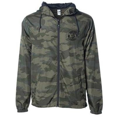 Front of camo wind breaker jacket with small seven seas logo on top left