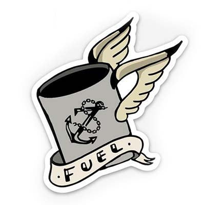 sticker of flying coffee cup with fuel wording