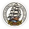 sticker of seven seas roasting ship logo