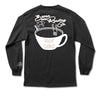Back of black long sleeve with coffee mug drawing