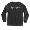 Front of black long sleeve with white rise and grind logo.