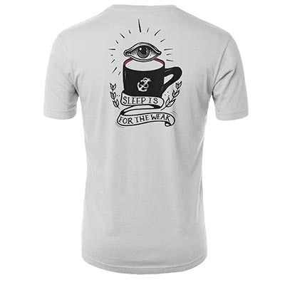 Back of White t-shirt with sleep is for the week art work with eye above of black mug