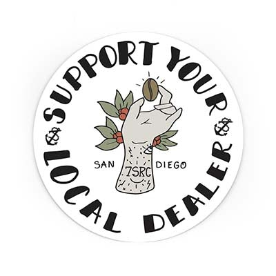 Sticker of support your local dealer artwork
